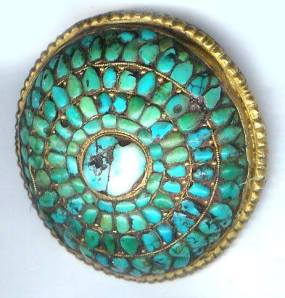 tibetan turquoise set into gilt silver with copper backing 17 18 century